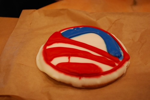 An Obama cookie at the Firehook Bakery and Coffee House.